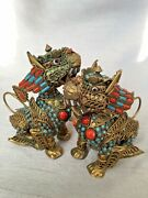 Pair Antique Chinese Temple Lions Snuff Bottles Turquoise Coral Filigree Bronze