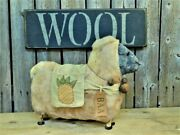 Primitive Sheep Doll W/ Rusty Bells Pineapple And Wool Wood Sign Display Set