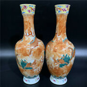 Chinese Old Marked Famille Rose Green And Iron Red Gilt Dragons Porcelain Vases
