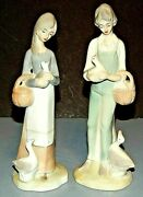 Two Young Women Girl Woman With Ducks Basket Lladro Style Figurines Unmarked