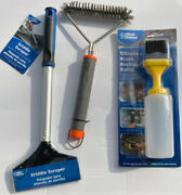 3 Pc Bbq Grill Set 16 Griddle Scraper / Grill Brush / Basting Bottle With Brush