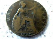 1917 Great Britain 1/2 Penny Half Pennies Half Cent Early British Coin