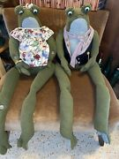 """Pair Of Shelf Sitting Frogs Mr Andmrs 48"""" Plush"""