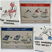 Stanley Tools Vintage And Rare Safety Sign No. 35 And 36 Double-sided - Circa 1950