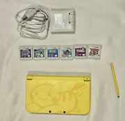 Nintendo New 3ds Xl Pikachu Yellow Limited Edition System With 6 Games + Charger