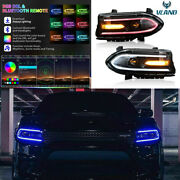 Kit Led Rgb Color Change Drl Headlights Assembly For 2015-2020 Dodge Charger