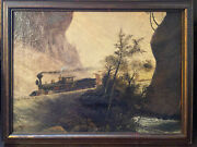 1850s-60s Original Railroad Oil Painting Train In Canyon West Usa With Provenanc