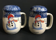 Thomson Pottery Snowman Salt And Pepper Shakers Holders Christmas Snow Holiday