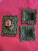 Beautiful Vintage Frazier California Pottery 4 Piece Lot Gree Rose 1951