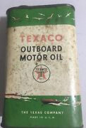 Vtg Texaco Outboard Motor Oil 1 Qt. Can Cool Graphics 50and039s Look