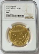 2020 Gold Great Britain 2500 Minted 100 Pounds 1oz Queen Music Legends Ngc Ms 67