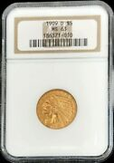1909 D Gold United States 5 Indian Head Half Eagle Coin Ngc Mint State 63