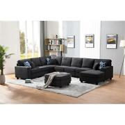 Maklaine Fabric 8pc Sectional Sofa Right Facing Chaise In Dark Gray