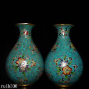 8.6 A Pair China Gold Plating On Pure Copper Cloisonne Blue Pinching Vase
