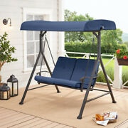 Patio Porch Swing With Blue Canopy Steel Frame 2-person