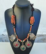 Berber Moroccan Necklace - Silver Coins, Genuine Coral Beads