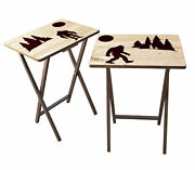 Bigfoot Fold-able Wood Tv Tray Tables - Set Of 2 Or 4 - Made In The Usa