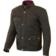 Merlin Expedition Wax Cotton Olive Waterproof Motorcycle Bike Heritage Jacket