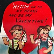 Vtg Valentines Card Weird Hitch Hitching On Road Two Children Runaway 40s 50s