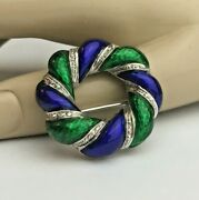 Signed Solid 18k White Gold Italian Guilloche Enamel Round Wreath Pin Brooch