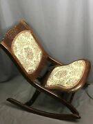 Antique Tapestry Wood Folding Rocker Vintage Victorian Style Rocking Chair
