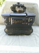 Vintage Mccoy Balck W Gold Old Time Cook Stove Cookie Jar Heavy Usa