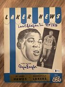 Elgin Baylor Signed Autograph Program Lakers Last Year In Minneapolis