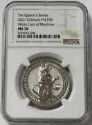 2021 Platinum Great Britain 100 Pounds Queenand039s Beasts White Lion Coin Ngc Ms 70