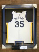 Framed Kevin Durant Signed Warriors White Nike Swingman Jersey Autograph Panini