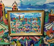 Expressionistisches Oil Painting From Milan Kubat Ap- Beer Munich Isar