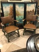 Antique Monterey Rancho Coronado Leather And Wood Arm Chairs Original Green 1930and039s