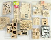 Stampin Up Huge Retired Stamps Lot Rubber Large Letters Floral Wood Foam 130 +