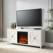Hennandhart White Tv Stand With Log Fireplace Insert