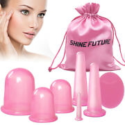 6 Face Facial Roller Massager Therapy Lifting Cups Cupping + Cleansing Brush Us