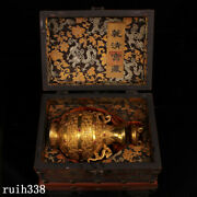 China Qing Dynasty Pure Copper Gilt Set Gemstone Pot Old Lacquerware Box