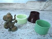 Vintage Bakelite/celluloid Napkin Rings/egg Cup And Novelty Celluloid Elephant