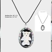 Black White Polar Bear Pendant Rubber Rope Chain Necklace Abalone Shell Pearl