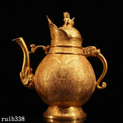 Infrequent China Pure Copper Gilt Hand Carved Tangled Lotus Pattern Teapot