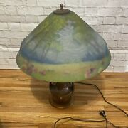 Reverse Painted Glass Lamp And Shade The Pairpoint Corp'n