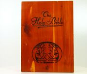 The Holy Bible Wooden Case Box Memorial Edition Christian Book Carved Vintage