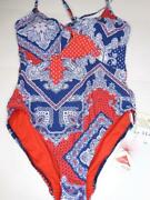 Nwt Seafolly Ladies Bandana Tie Front One Piece Swimsuit + Matching Pillow