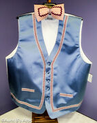 Easter Bunny Vest And Tie Blue Full Back Hand Decorated Mascot Clothing Acc Xl