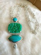 Akr Amy Kahn Russell Sterling Silver Carved Green Aventurine Turquoise Pendant/p