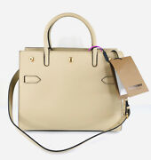 Title Double Handle Tote Light Beige Leather Strap Bag 8024689