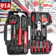 Precition Hand Tool Kit 38 Piece Red Household Set Box Ladies Women Home Tools