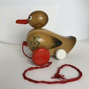 Vintage Wooden Duck Pull Toy 80s