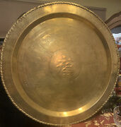 Vintage/antique Lrg Handcrafted Chinese Brass Embossed Tray/wall Hanging/table