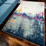 Navy Blue Rugs For Living Room Silver Distressed Look Moroccan Abstract Big Mats