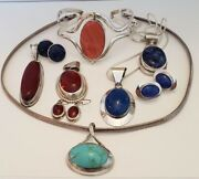 Gorgeous Collection Of Vintage Sterling Silver Jewelry From Mexico