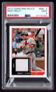 2012 Topps Mini Relics Mr-2 Mike Trout Ssp Rookie Jersey Relic Psa 9 Mint Angels
